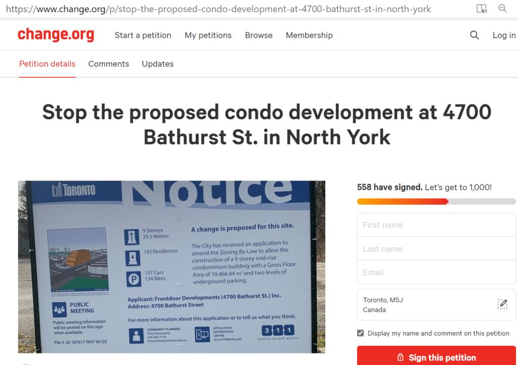 4700 bathurst petition condo development